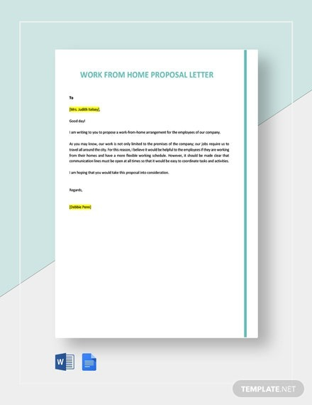 Work From Home Proposal Letter Template