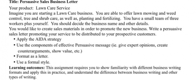 Write A Persuasive Sales Business Letter Maximun