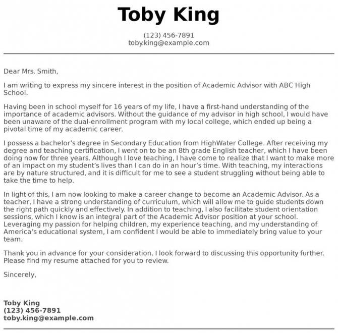 Academic Advisor Cover Letter Examples  Samples   Templates