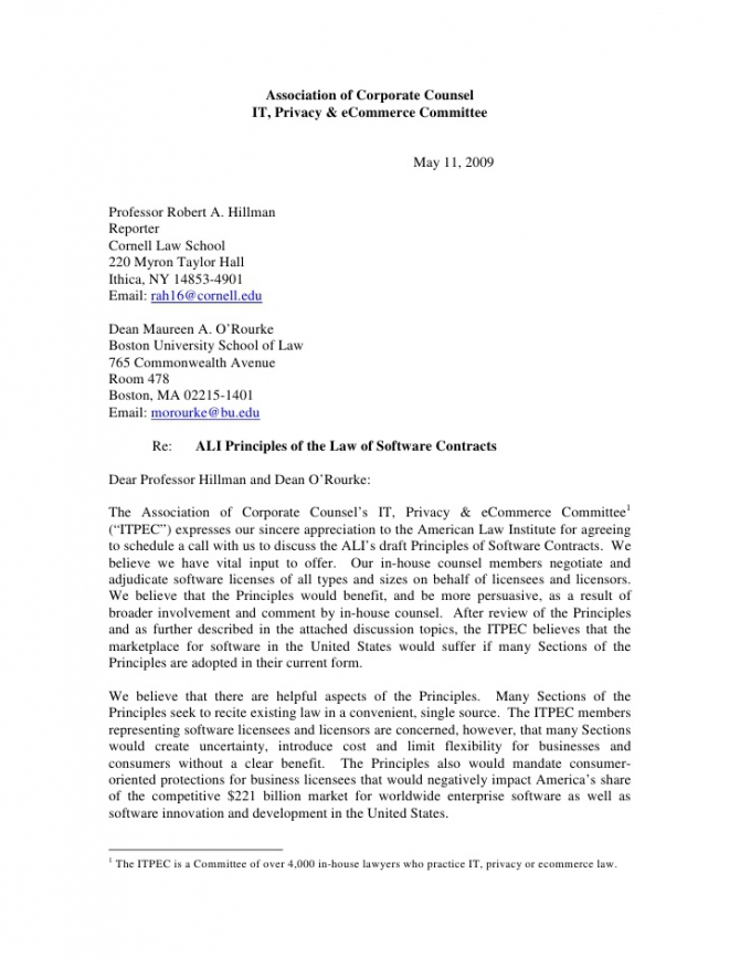 Acc Itpec Letter And Discussion Points Re Ali Principles Of The Law O