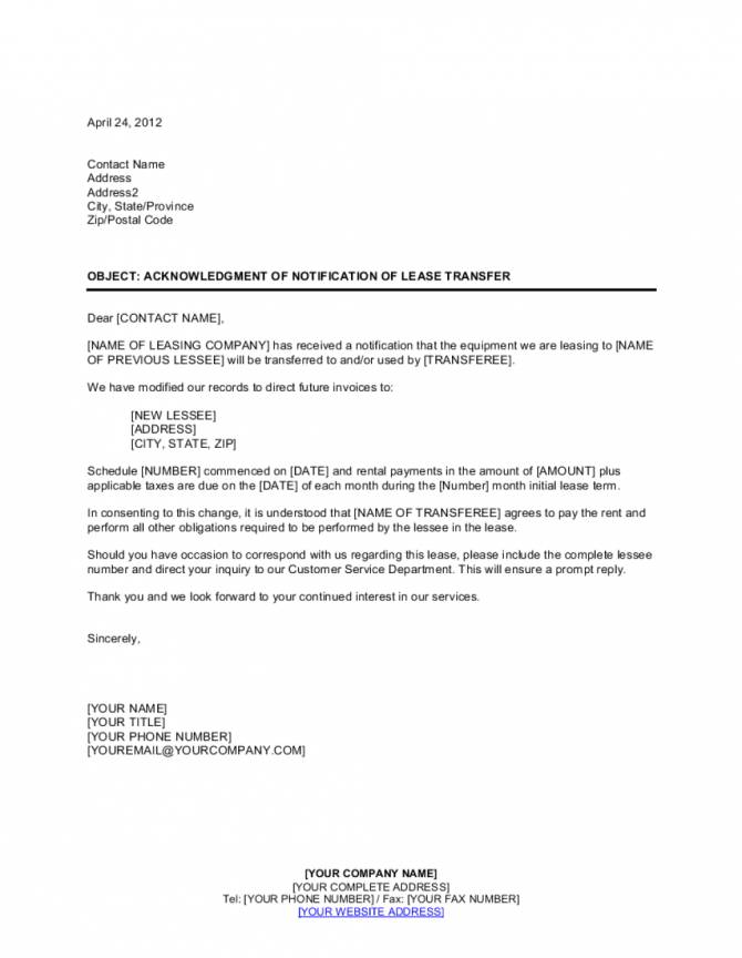 Acknowledgment Of Notification Of Lease Transfer Template