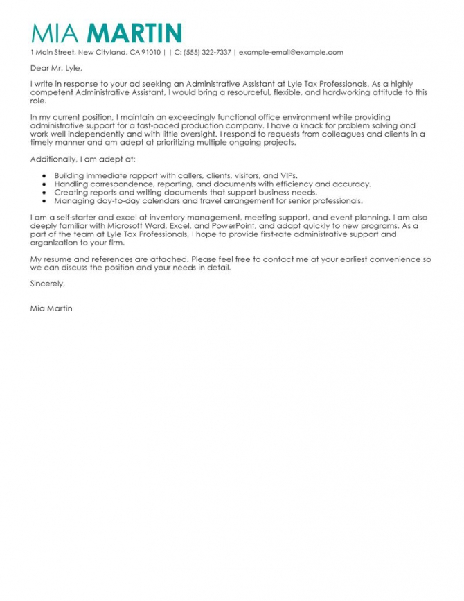 Administrative Assistants Cover Letter Example With Tips