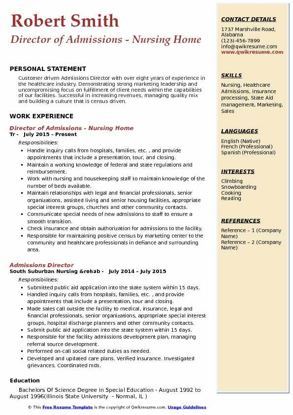 Cover letter admissions director