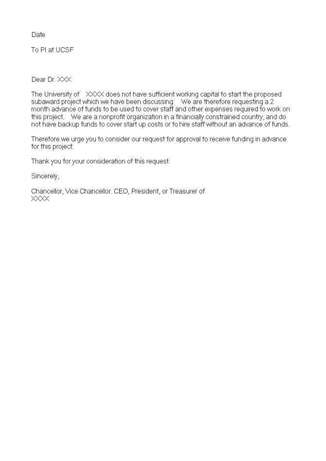 Advance Payment Acknowledgement Letter