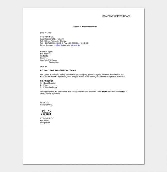 Agent Appointment Letter Template