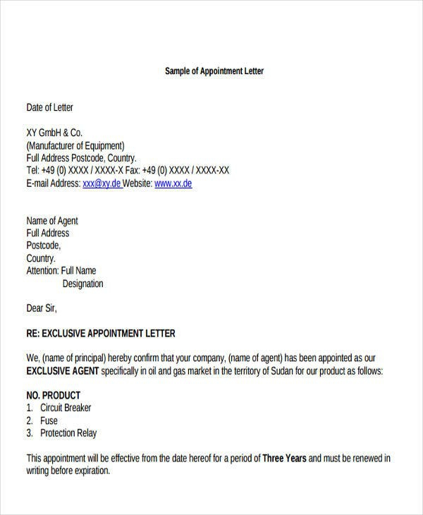 Agent Appointment Letter Templates
