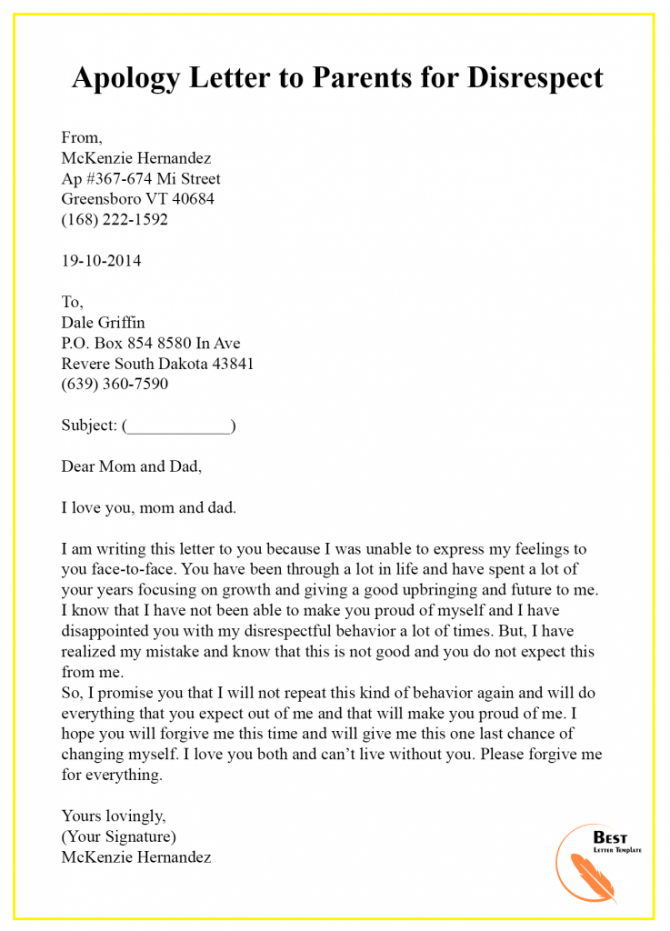 Apology Letter Template To Parents  Sample   Examples