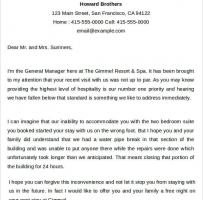 Hotel Apology Letter
