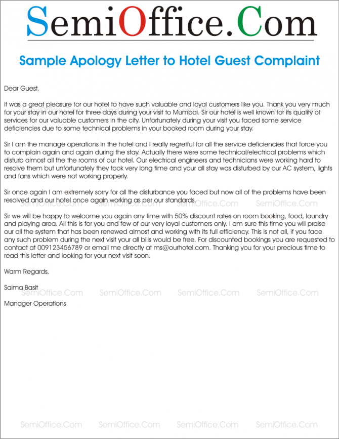 Apology Letter To Hotel Guest For Noise  Cleanliness   Poor Services