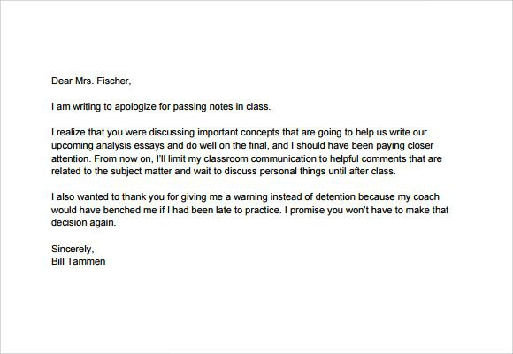 Apology Letter To School Teacher Pdf