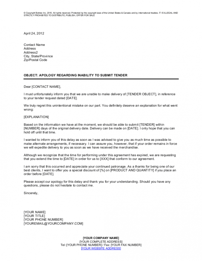 Apology Regarding Inability To Submit Tender Template