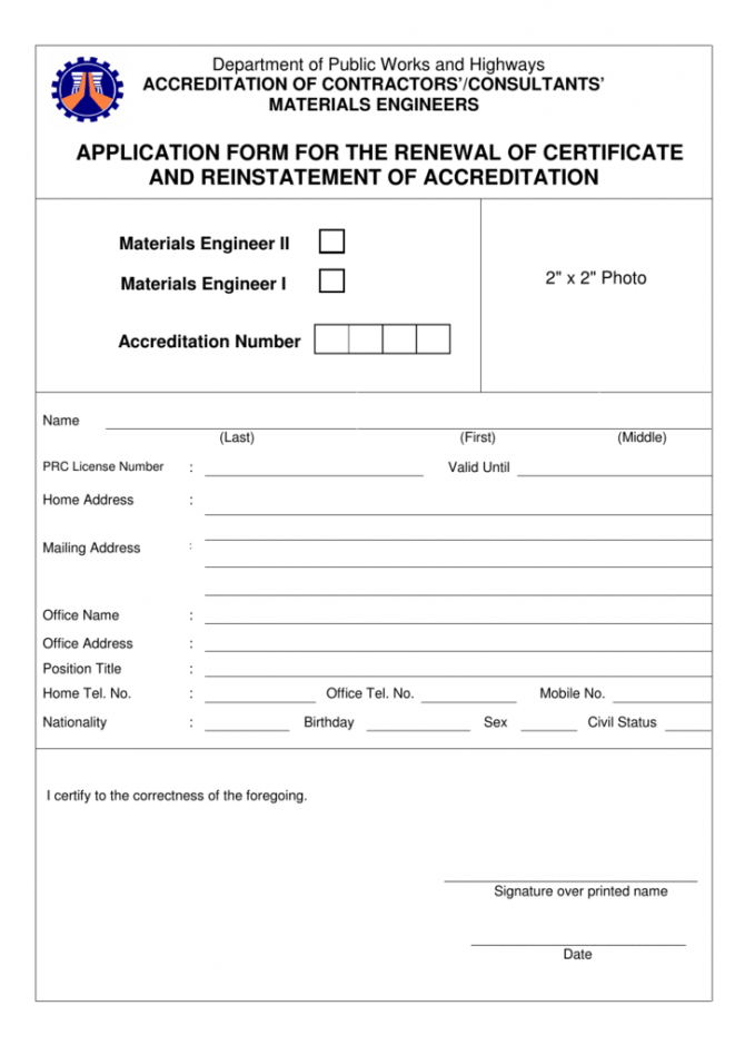Application Form For The Renewal Of Certificate