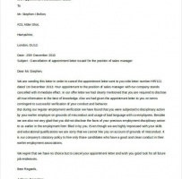 Cancellation Of Job Appointment Letter