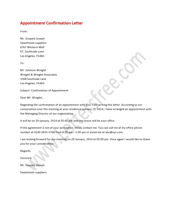 Appointment Confirmation Letter