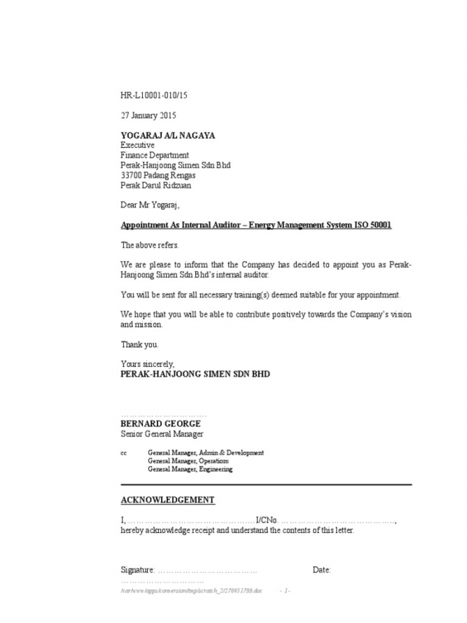 Appointment Letter Internal Auditors