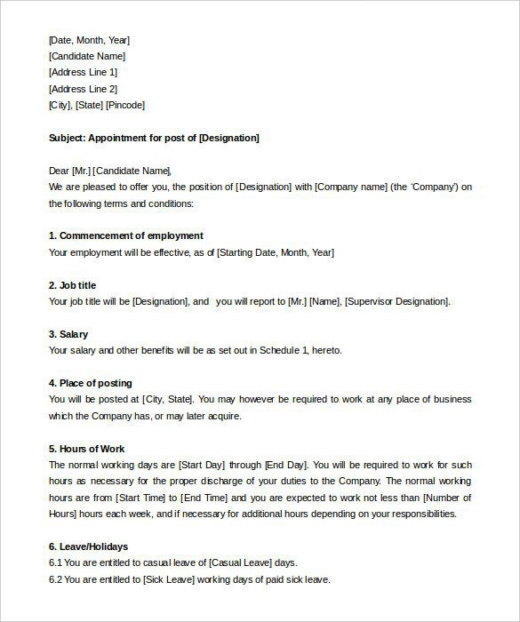 Appointment Letter Templates Free Sample Example Format For
