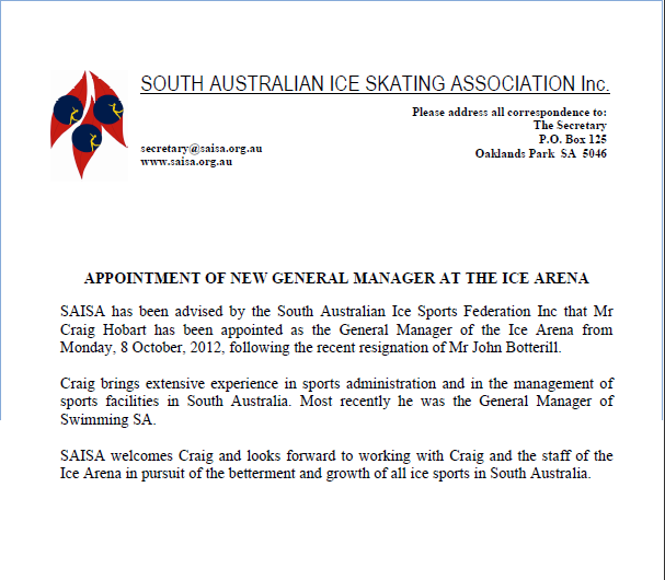 Appointment Of New General Manager At The Ice Arena