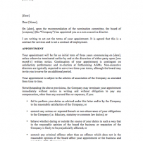 Letter Of Appointment For A Non-Executive Director