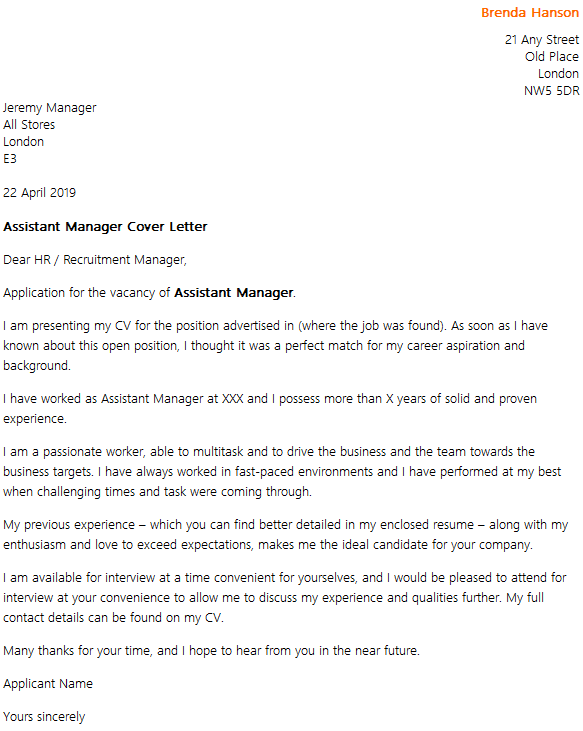 Assistant Manager Cover Letter Example