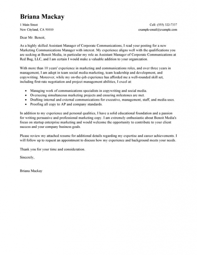 Assistant Manager Of Communications Cover Letter Example Free