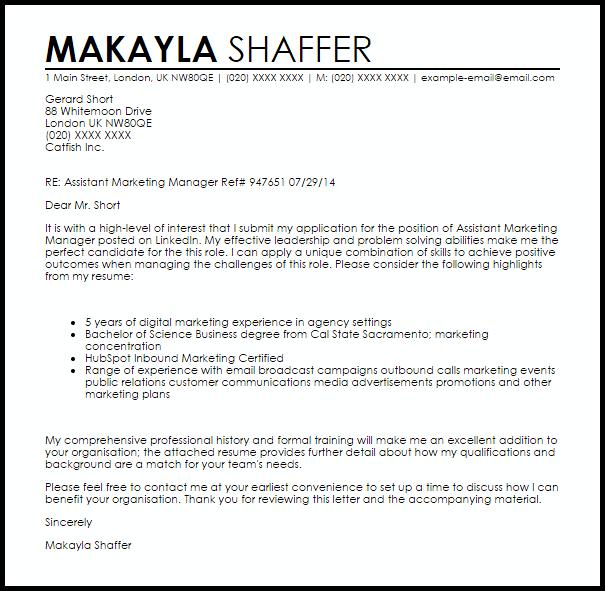 Assistant Marketing Manager Cover Letter Sample