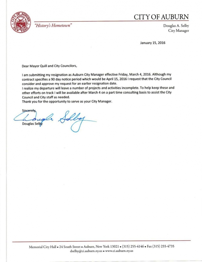 Auburn City Manager Doug Selbys Resignation Letter  Jan
