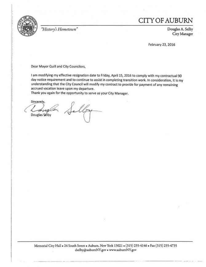 Auburn City Manager Doug Selbys Resignation Letter Feb