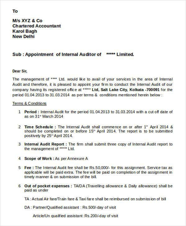Auditor Appointment Letter Templates