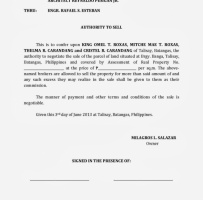 Authorization Letter To Sell Property