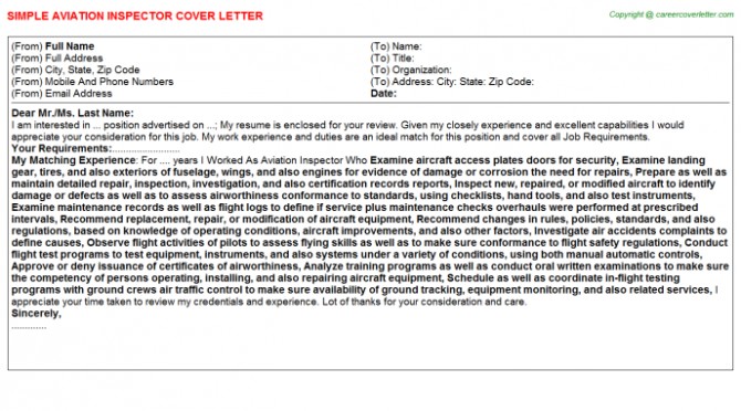 Aviation Inspector Cover Letter