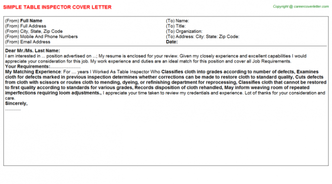 Aviation Safety Inspector Cover Letters