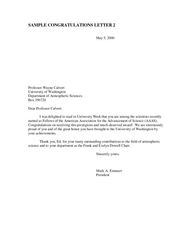 Award Congratulations Letter