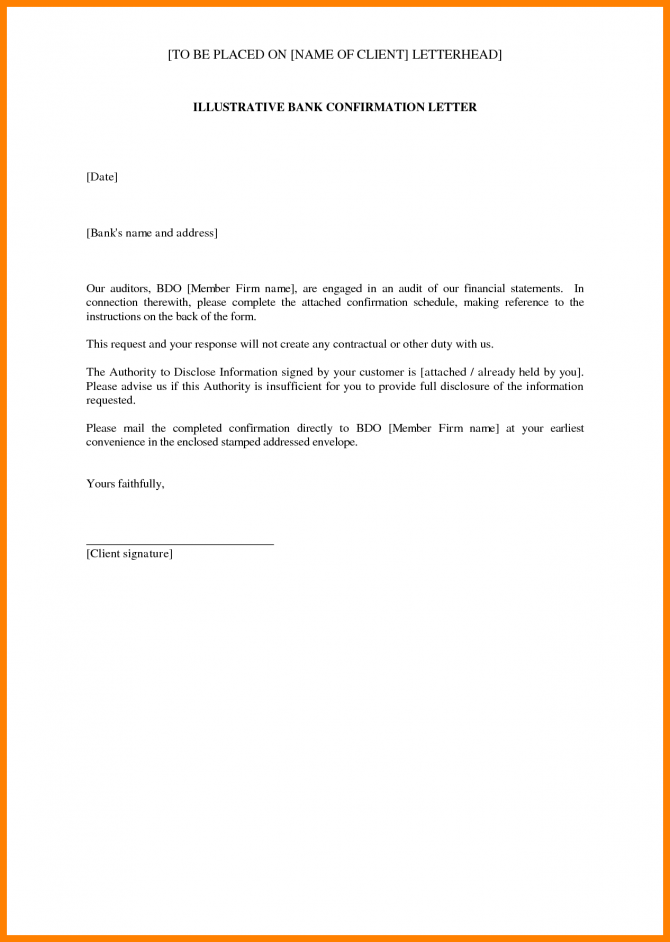 Bank Account Confirmation Letter Commerce Invoice Sample