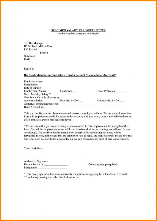 Bank Account Opening Form Format Awesome Employee Transfer Letter