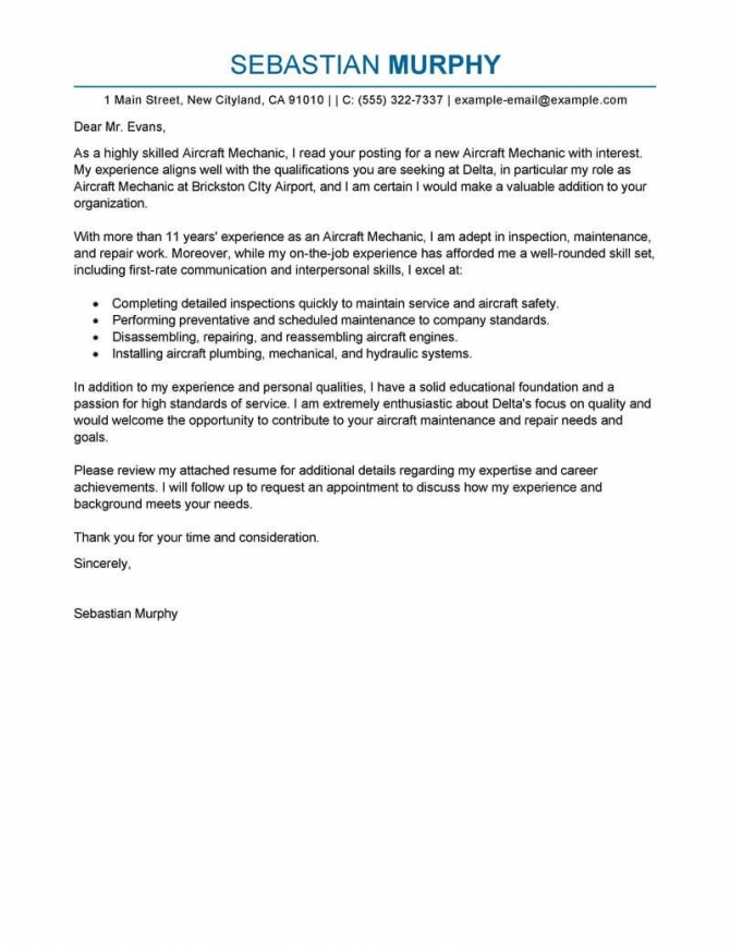 Best Aircraft Mechanic Cover Letter Examples