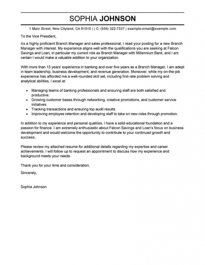 Best Branch Manager Cover Letter Examples