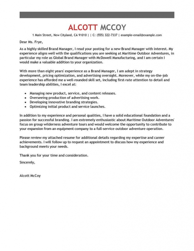 Best Brand Manager Cover Letter Examples