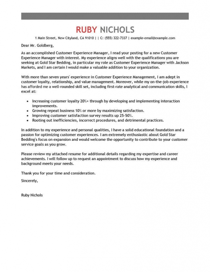 Best Customer Experience Manager Cover Letter Examples