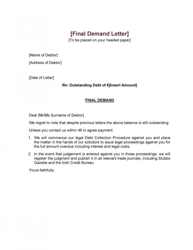 Best Demand Letter Templates Free Samples  Templatelab