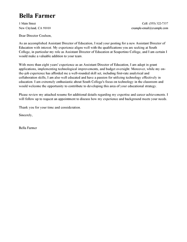 Best Education Assistant Director Cover Letter Examples