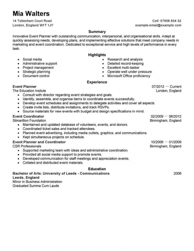 Best Event Planner Resume Example