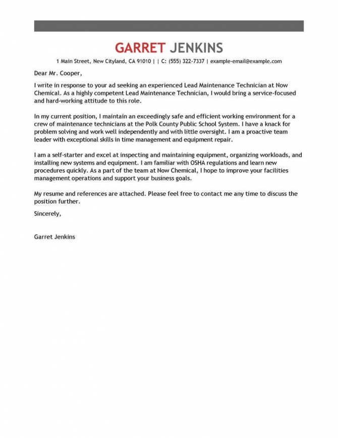 Best Facility Lead Maintenance Cover Letter Examples