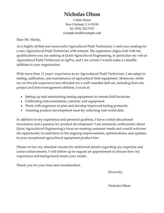 Best Field Technician Cover Letter Examples