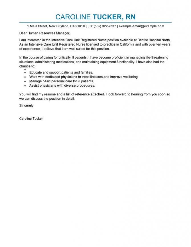 Best Intensive Care Unit Registered Nurse Cover Letter Examples