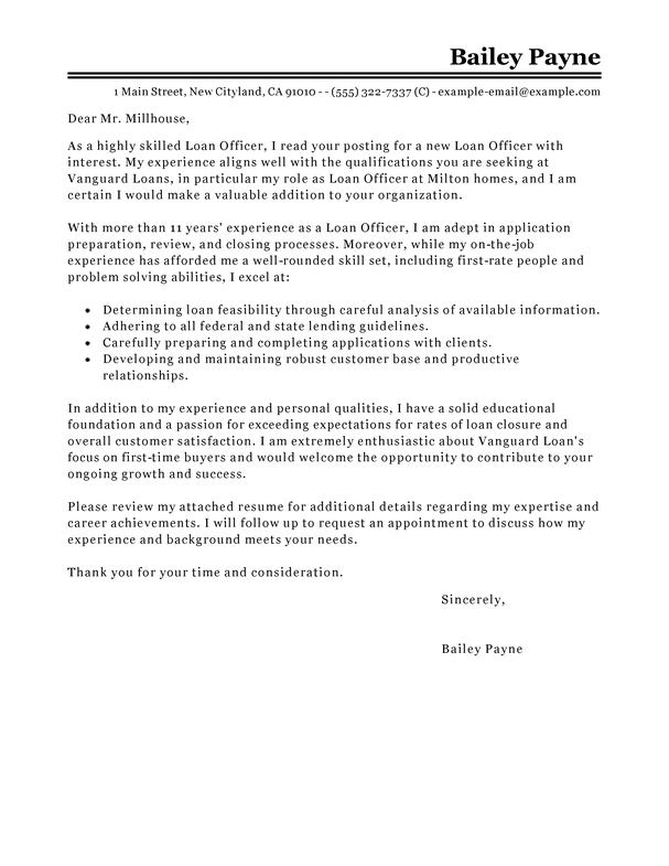 Best Loan Officer Cover Letter Examples