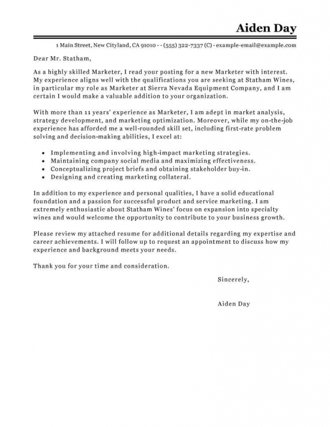 Best Marketing Cover Letter Examples
