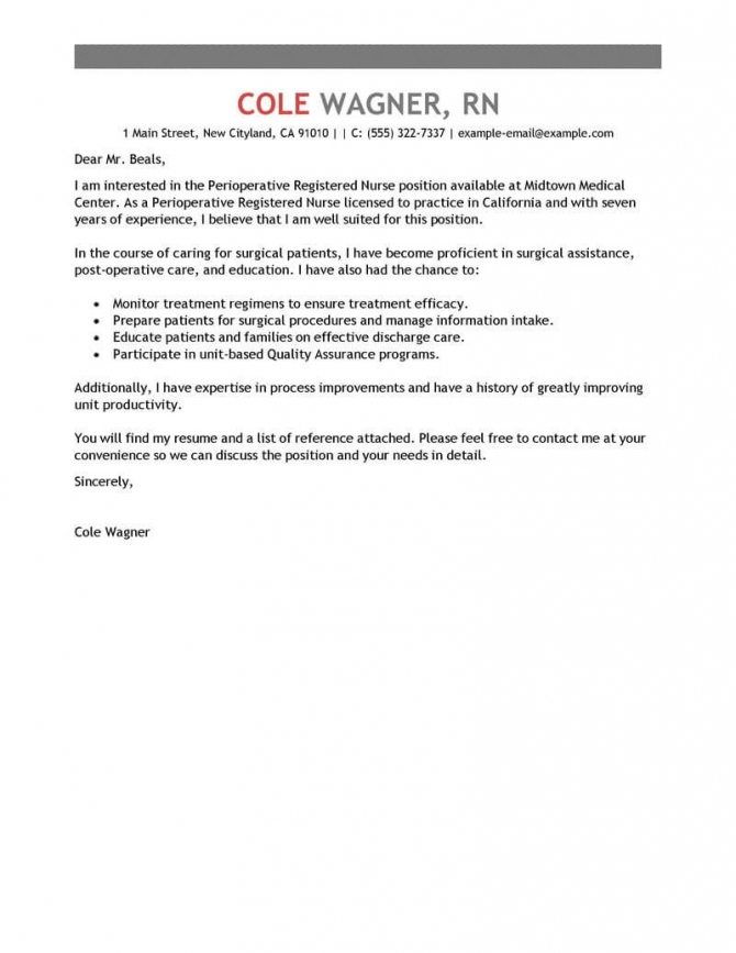 Best Perioperative Nurse Cover Letter Examples