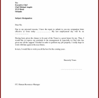 Resignation Letter For Personal Reason