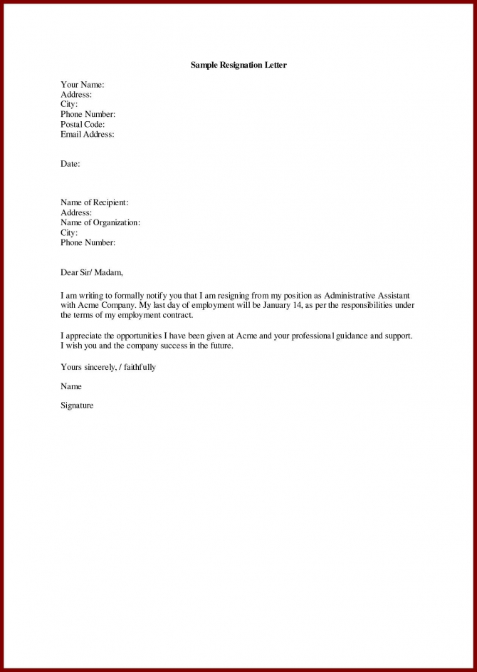 Best Refrence Valid Example For Resignation Letter For Personal