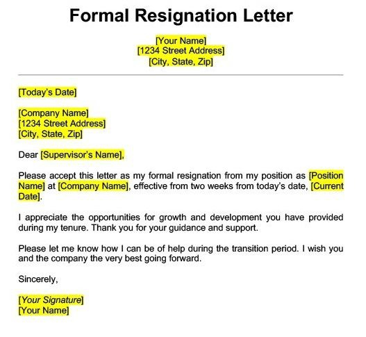 Best Resignation Letter Sample Templates